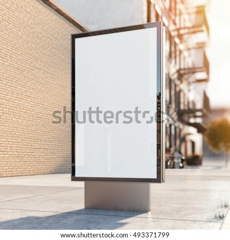 Black advertising stand on a street with old building. 3d rendering