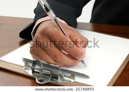 Black African American hand in business suit signing document paper contract with ink pen. - stock photo