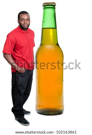 Black African American man with an ice cold beer in a bottle