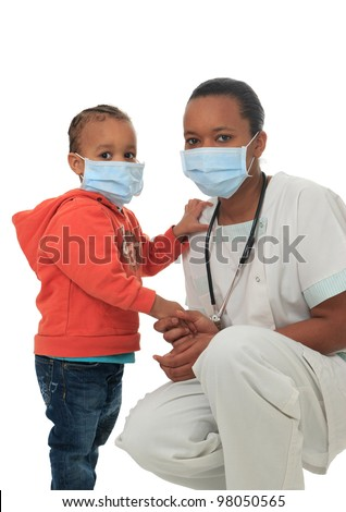 Black African American nurse with child isolated metisse stethoscope infirmiere - stock photo