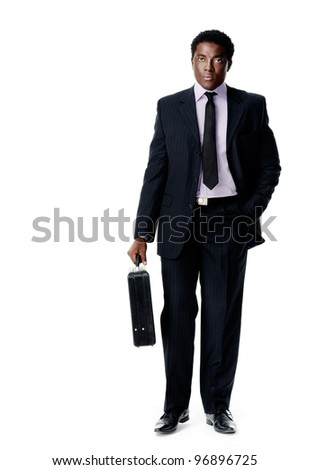 Black african businessman standing holding a briefcase isolated on white - stock photo