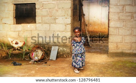 Black African girl at home - stock photo