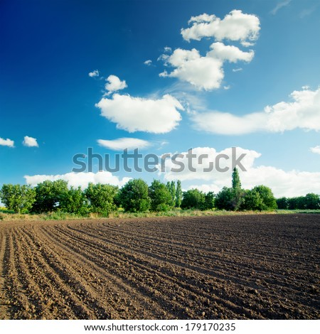 black agriculture field and blue sky with clouds - stock photo
