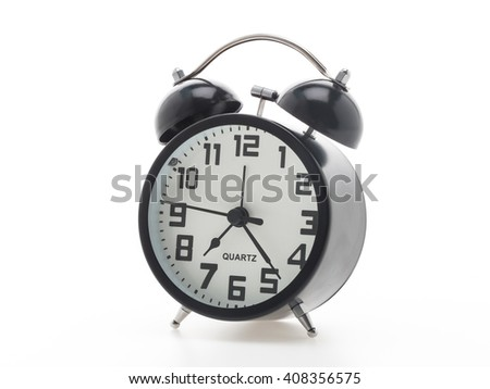 Black alarm and clock isolated on white background
