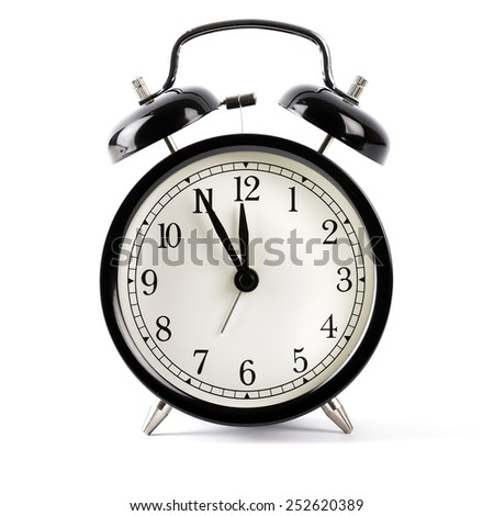 Black alarm clock isolated on white with shadow - stock photo