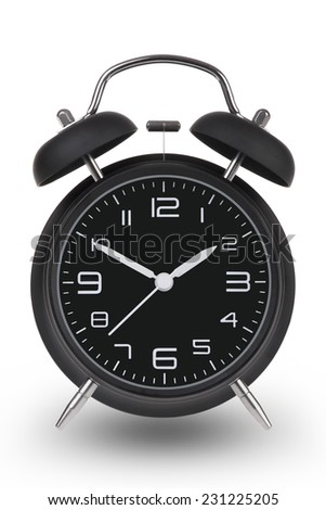 Black alarm clock with the hands at 10 and 2 am or pm isolated on a white background