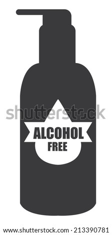 Black Alcohol Free Icon, Label or Cosmetic Container Isolated on White Background  - stock photo