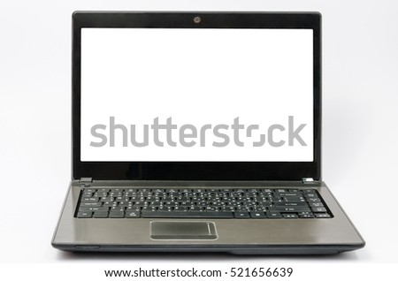 Black aluminium body laptop computer with blank screen isolated on white background