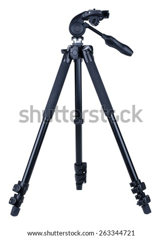 Black aluminum tripod for camera, isolated on white background