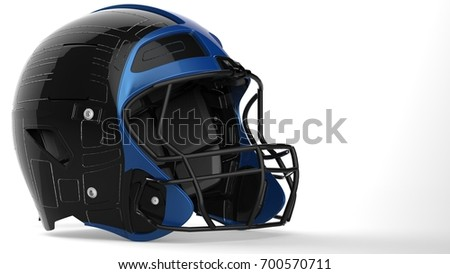 Black and blue american football helmet. 3D illustration. 3D high quality rendering.
