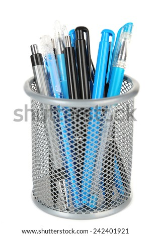 Black and blue pens in grey metal vase isolated on white background - stock photo