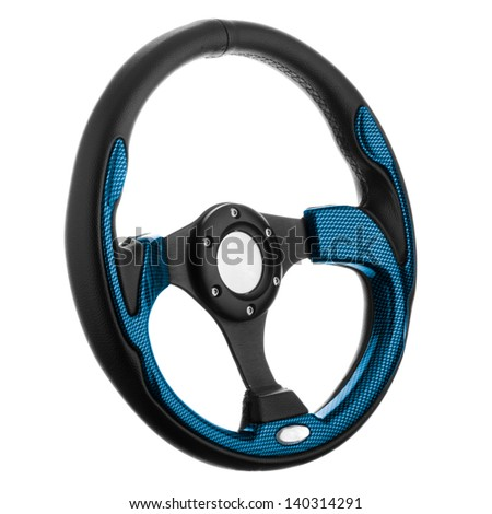 Black and blue steering wheel isolated on withe background. - stock photo