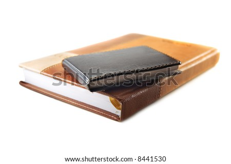 black and brown notebook - stock photo