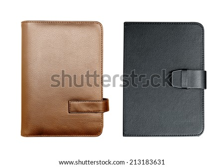 Black and brown notebook isolated - stock photo