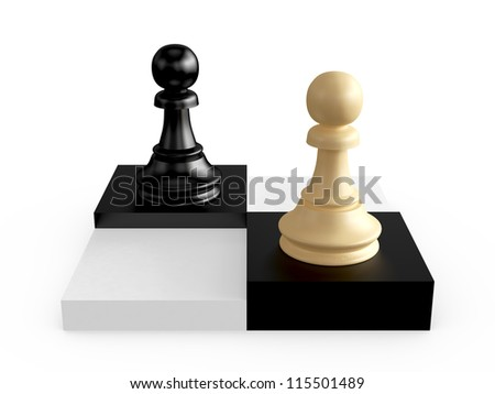 Black and brown pawns on chess board cells, isolated on white background. - stock photo
