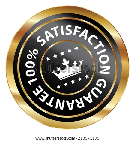 Black and Gold Circle Metallic 100 Percent Satisfaction Guarantee Icon, Button, Label or Sticker Isolated on White Background  - stock photo