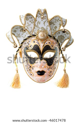 black and gold mask isolated on a white background