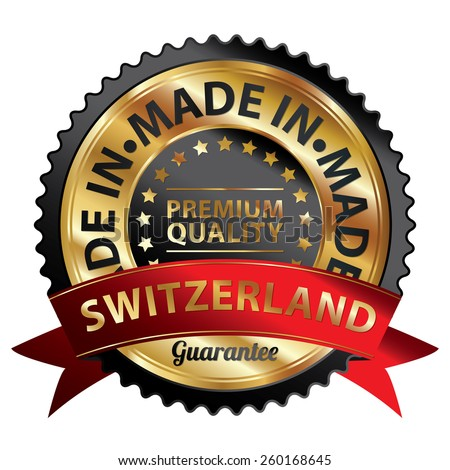Black and Gold Metallic Made in Switzerland Premium Quality Ribbon, Badge, Icon, Sticker, Banner, Tag, Sign or Label Isolated on White Background - stock photo