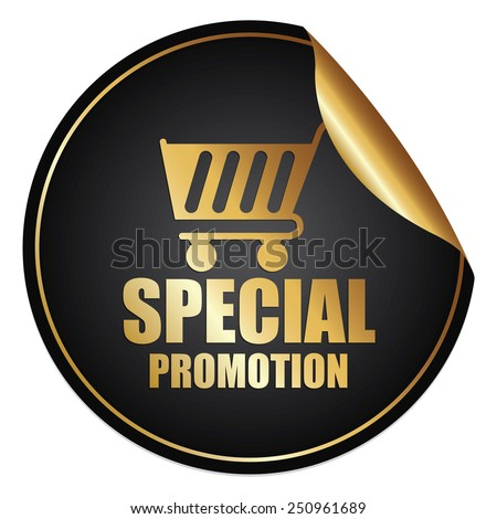 Black and Gold Metallic Special Promotion Sticker, Icon or Label Isolated on White Background  - stock photo