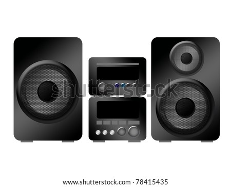 black and gray stereo over white background. illustration - stock photo