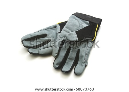 Black and Gray Work Gloves on White Background - stock photo