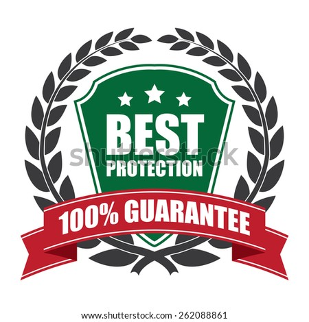 Black and Green Best Protection 100% Guarantee Shield, Wheat Laurel Wreath, Ribbon, Label, Sticker or Icon Isolated on White Background - stock photo