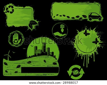 Black and Green grunge eco design elements (JPG); a vector version is also available - stock photo