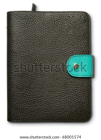 Black and green leather cover note book on white