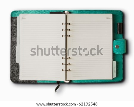 Black and green leather cover of binder notebook - stock photo