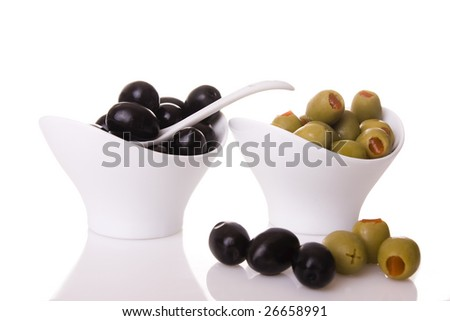 Black and green olives isolated on  a white background - stock photo
