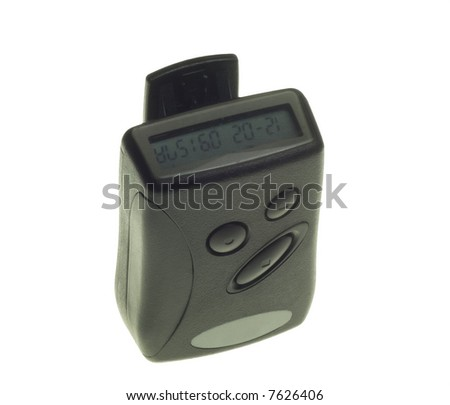 black and grey pager isolated on white background - stock photo