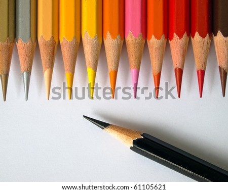 black and hot tone of color pencil - stock photo