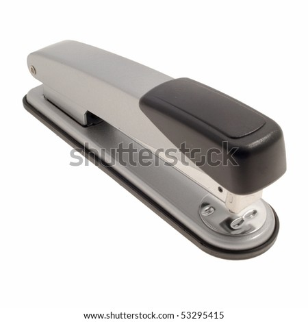 Black and metal stapler over a white background - stock photo