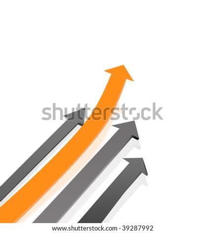 Black and orange arrows pattern - stock photo