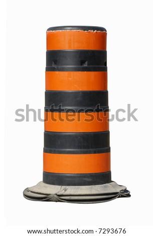black and orange construction pylon isolated on white background - stock photo