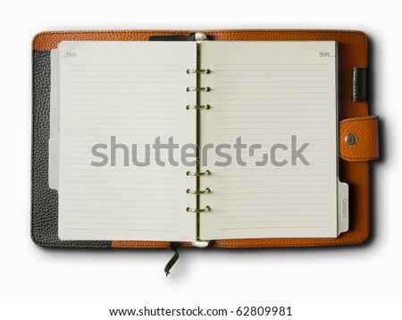 Black and Orange leather cover of binder notebook - stock photo