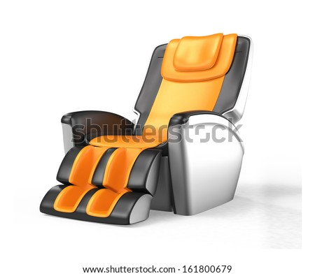Black and orange leather reclining massage chair with clipping path, original design.