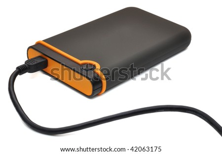 Black and orange portable storage disk, isolated on white - stock photo