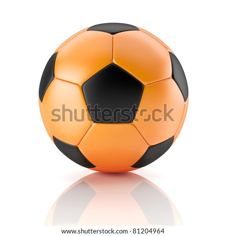 black and orange soccer ball - stock photo