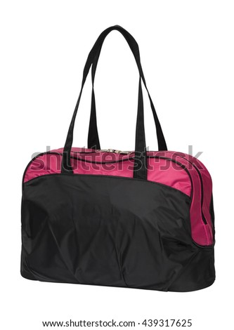 black and pink duffel bag, handbag isolated on white background