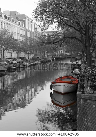 Black and red Amsterdam - stock photo