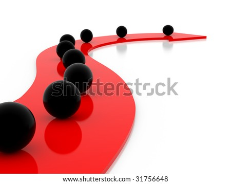 black and red arrows and spheres on a white background - stock photo