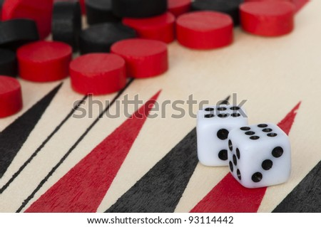Black and red Backgammon and dices. Success conception - stock photo