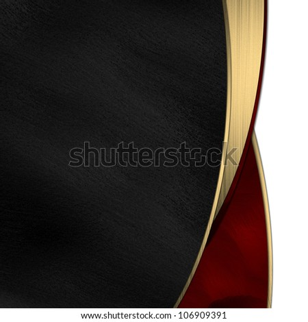 Black and red background divided by a gold stripe - stock photo