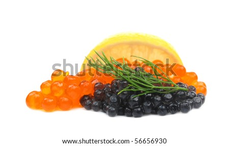 Black and red caviar salmon roe - stock photo