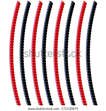 Black and Red curved Licorice isolated on white - stock photo