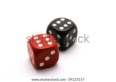 Black and Red Dice isolated on white