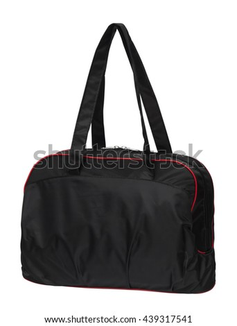 black and red duffel bag, handbag isolated on white background