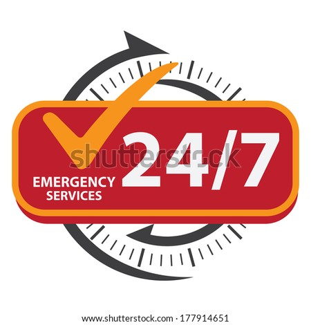 Black and Red 24/7 Emergency Services Icon, Badge, Label or Sticker for Customer Service, Support or CRM Concept Isolated on White Background  - stock photo