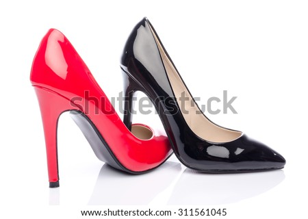 Black and red high heel shoes, isolated on white - stock photo